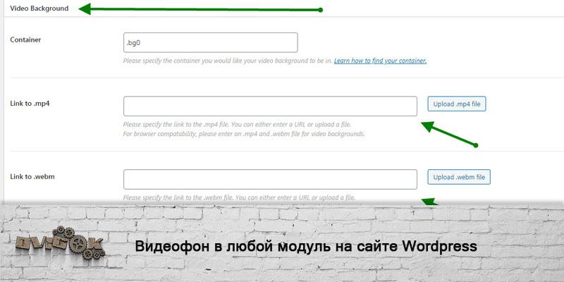 Видеофон на отдельные блоки или страницы Wordpress